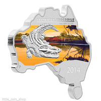 2014 AUSTRALIAN MAP SHAPED SALTWATER CROCODILE 1oz SILVER PROOF COIN - BRAND NEW image
