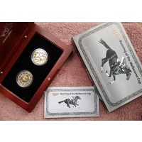 Australia 2010 50c Gold Plated Silver Proof Melbourne Cup 2 Coin Set  image