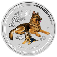 2018 Australian Lunar Series II: Year of the Dog 1/4 oz Silver Coloured Bullion Perth Mint In Capsule image