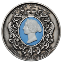 2019 Queen Victoria 200th Anniversary 2 oz Silver Cameo Antiqued $2 Perth Mint image