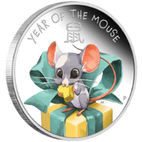 2020 Lunar Baby: Mouse 1/2 oz Silver Proof 50c Perth Mint COA & Presentation Case image