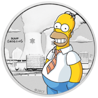 2020 The Simpsons: Homer 1/2 oz Silver Coloured Perth Mint Coin in Card image