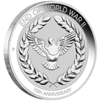 2020 End of World War II 75th Anniversary 1/10 oz Silver Perth Mint Coin in Card image