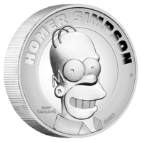 2021 The Simpsons Homer 2 oz Silver Proof High Relief Perth Mint Presentation Case & COA image