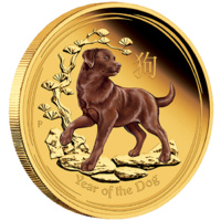 LUNAR GOLD COIN SERIES II 2018 YEAR OF THE DOG 1oz GOLD PROOF COLOURED COIN image