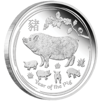 2019 Australian Lunar Series II: Year of the Pig 1 oz Silver Proof Perth Mint image