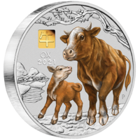 2021 Australian Lunar Series III Year of the Ox 1kg Silver Coloured with Gold Privy Mark Perth Mint Presentation Case & COA image