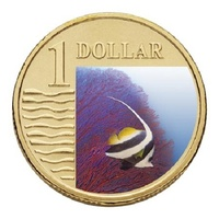 2007 Ocean Series Longfin Bannerfish $1 Coin in Card RAMint - Coloured image