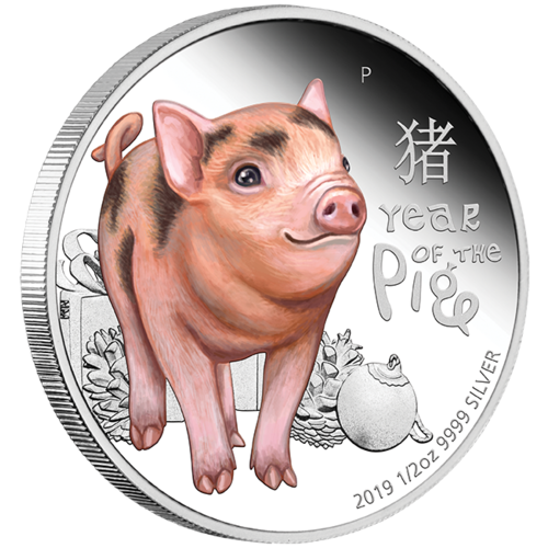 2019 Baby Pig 1/2 oz Silver Proof Perth Mint