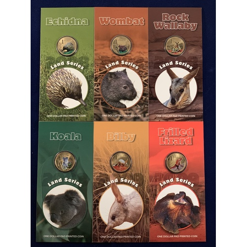 2008-9 Land Series: Complete Set of 6 $1 Coins: Koala, Wombat, Echidna, Rock Wallaby, Bilby & Frilled Lizard Uncirculated RAMint Pad Printed Coins in