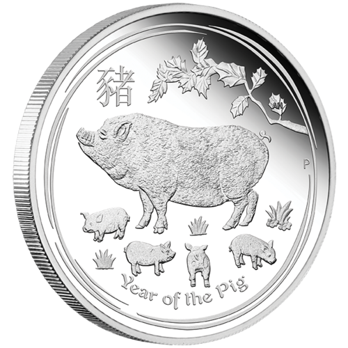 2019 Australian Lunar Series II: Year of the Pig 1 oz Silver Proof Perth Mint in Presentation Case with COA