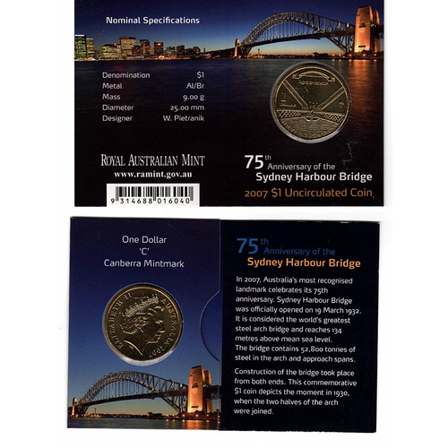 "2007 75th Anniversary of the Sydney Harbour Bridge ""C"" Mintmark Uncirculated $1 RAMint Coin in Card"